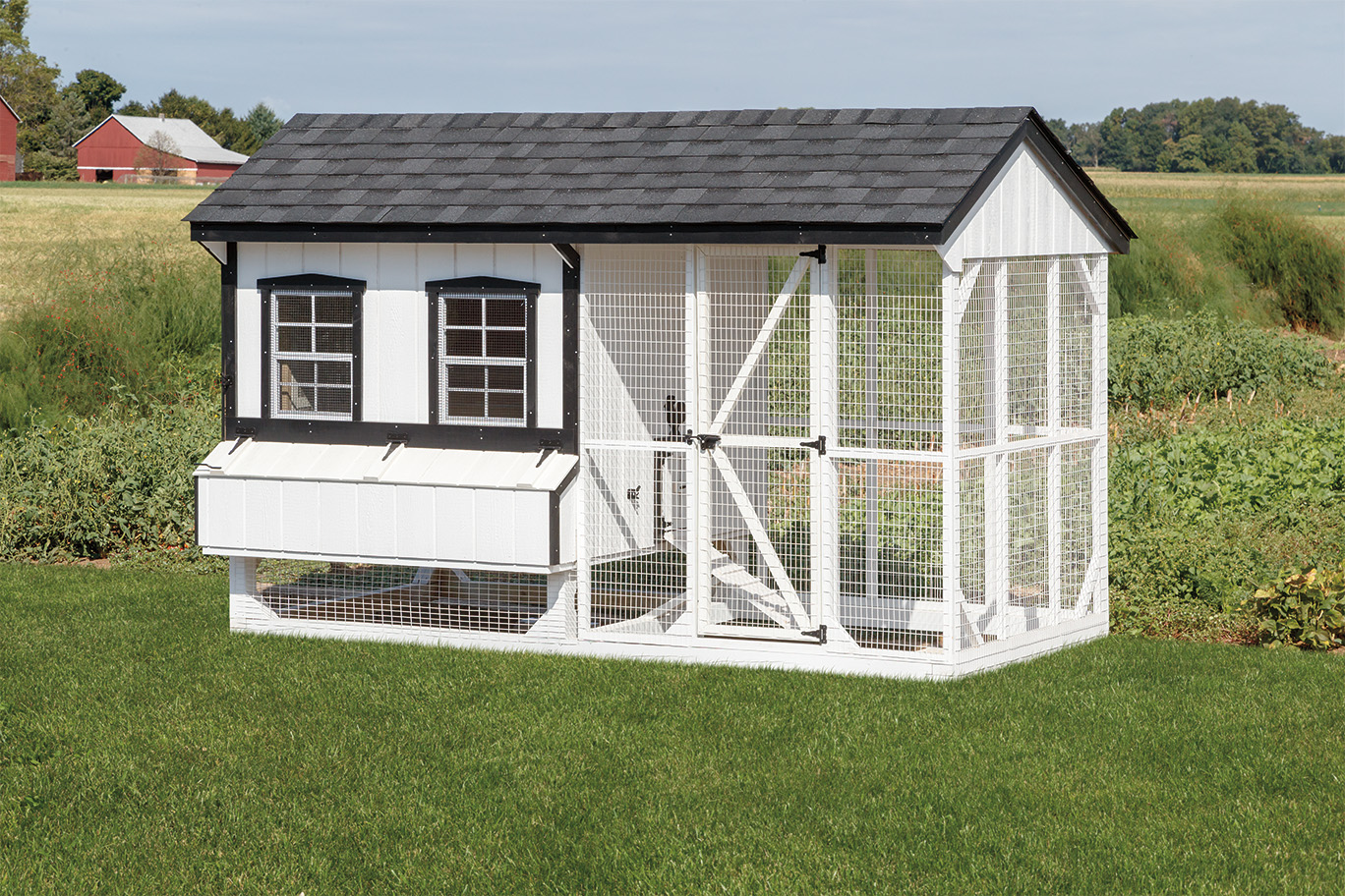 Combination style chicken coop with w 6 12 run 6 6 house for Chicken run for 6 chickens