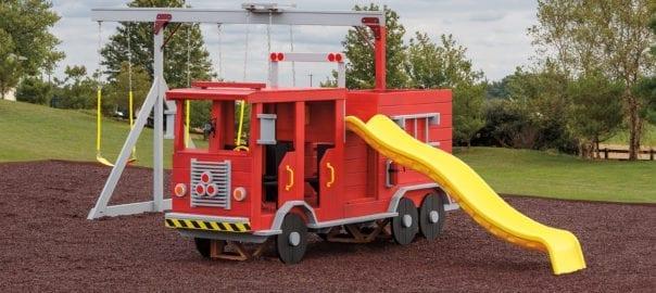 fire truck-shaped playset