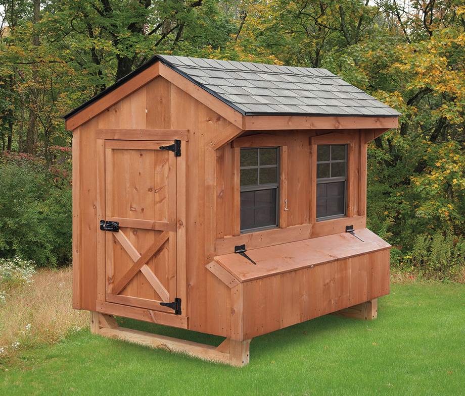 4 6 quaker style chicken coop backyard escapes for Chicken coop size for 6 chickens