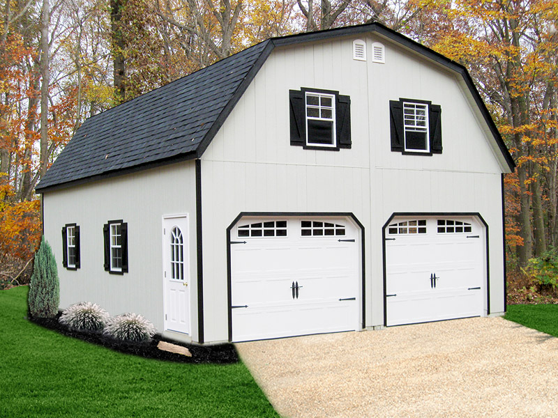 Painted Gambrel 2 Story Modular Garage Backyard Escapes