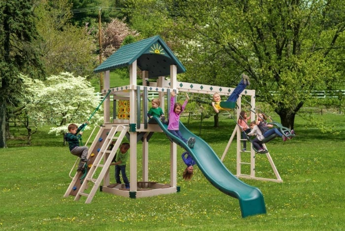 Front View of Cubby's Fort Vinyl Swingset