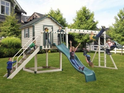 Front View of Pirate's Palace Vinyl Swingset