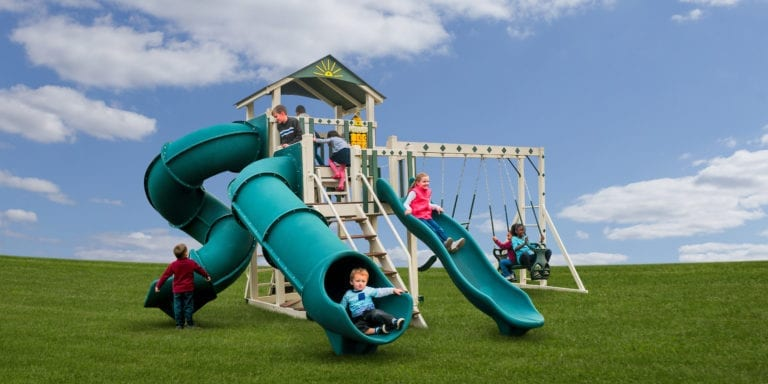 Front View of The Eclipse Vinyl Swingset