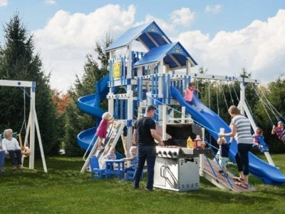Front View of The Galaxy Vinyl Swingset