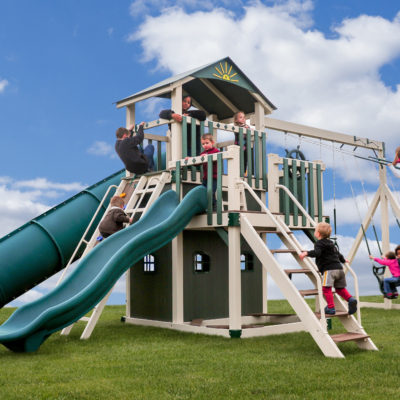Front View of The Launching Pad Vinyl Swingset