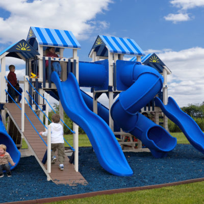 Front view of The Rocket Launcher Xtreme Vinyl Swingset