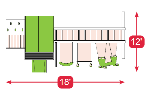 Layout Diagram of Cubby's Fort Vinyl Swingset