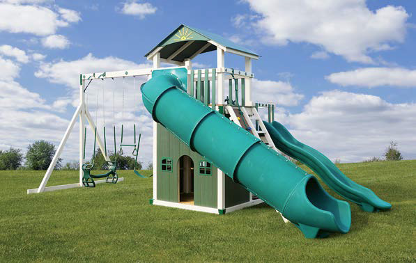 Rear View of The Launching Pad Vinyl Swingset