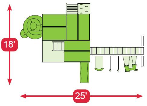 Layout Diagram of The Shooting Star Vinyl Swingset